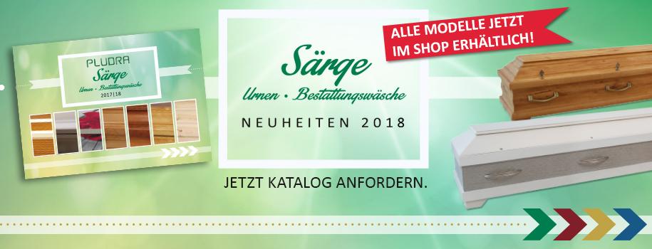 [Translate to Spanisch:] Särge, Urnen, Bestattungswäsche Neuheiten 2018
